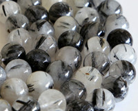 "Stone Spike White Wholesale Natural Genuine Black Tourmaline Rutilated Needle Quartz Round Loose Stone Beads 3-18mm DIY Necklaces or Bracelets 16"" 02830"