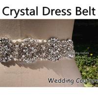 Wholesale Real Image Glass Crystal Pearl Rhinestone Handmade Luxury Wedding Dress Belt Bridal Accessory Sash