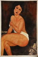 One Panel Oil Painting Fashion Free Shipping Seated Nude on Divan by Amedeo Modigliani, Naked Women Oil Hand Painting on Canvas H-0111