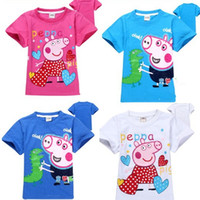 Unisex Summer Standard New Arrival Baby Boy Girl's Summer clothing Peppa Pig short sleeve T-shirts Children T shirt Cartoon Sports tops Clothes Tees Cotton