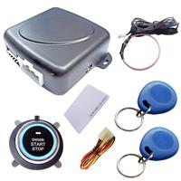 One Way push start push stop cardot RFID car alarm system with slim start button,silver back light,keyless lock or unlock car engine immobilizer,transponder card and tag