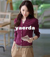 Wholesale Slim new Korean female long sleeved shirts Blouses wild