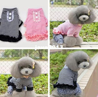 Dog Costumes Dogs 12 cm (Pink Black)Cute Pet T-shirt Striped Style Lacework Trim Puppy&Doggie Top Spring And Summer Tee For Dogs