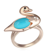 Three Stone Rings Bohemian Women's Wedding Engagement Rings For Women Little Swan gold plated opal Ring 13906