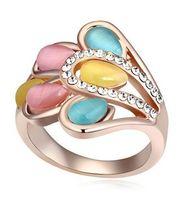 Three Stone Rings Bohemian Women's Wedding Rings For Women Cat's Eye Stone Ring Opal Jewelry Fashion Brand 13291