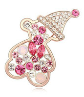 Bohemian Women's Gift Christmas gift! High Quality Crystal Brooches Brand Brooches For Women 18K Gold plated Austrian Crystal Animal Brooch Costume Jewelry 11501