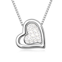 Pendant Necklaces platinum - Necklace Women Fashion Statement Bridal Wedding Jewelry Platinum Plated Lady Gift Heart Crystal Pendant Necklaces