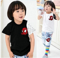 Boy Summer Standard Retail Baby Boys Girls New Design Short Sleeves Cotton Tees Spider Man Cartoon T-shirts Summer Tops Cool tops Children Clothes