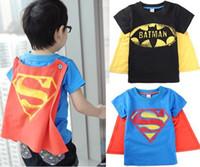 Boy Summer Standard Retail Baby Boy Girl's Minion T-shirt Short sleeves tees Kids Superman Batman summer tops tees Cool tops+cloak Children clothes