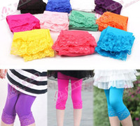 Wholesale Brand New Fashion baby girl candy color lace leggings girls velvet shorts For years pair mix colors