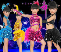 ballet dance costumes - 2014 NEW Fashion Girls Sequins Feathers Dance Clothes Dress Children s Dancewear Performance Clothes Modern Ballet Latin Dance Stage Costume