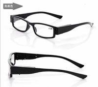Wholesale newest black Led Reading Glasses Reading Glass with LED Light glasses power