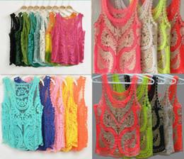 Wholesale Candy Color Size M TO LRetro Lace Floral Sleeveless Crochet Knit Vintage Women Vest Tank Tops Tees Shirt Blouse