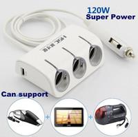Wholesale Car Cigarette Hole W Lighter Socket Splitter Double core USB Universal Car Charger Power Triple Socket Charger