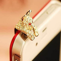 Wholesale New Diamond Anti Dust plug Earphone Headphone dust Cap for iphone5 s for iphone6 s plug mobile phone