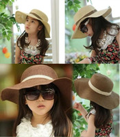 baby blue straws - Child girl beach children sun hat Baby Flower Caps Baby Hat Kids Straw Fedora Hat Children Summer Hat