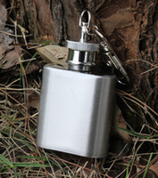 Wholesale Hot oz Stainless Steel Pocket Flask Russian Hip Flask Male Small Portable Mini Shot Bottles with keychain Wine flask Liquor flask