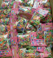 Hair Rubber Bands colors styles Wholesale- Rainbow Loom glow in the dark glitter metal camouflage charms bands Silicone Rubber Band colorful bag 600bands+24clip,120bag lot