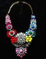 Wholesale Vintage Alloy Neon Resin Gem Clear Deop rhinestone Flower Pendants Statement Choker Necklace T14041013