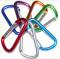 Non-Locking Carabiners Rock Climb  Free Shipping 80MM D Type Carabiner Durable Climbing Hook Aluminum Keychain Camping Accessory Fit Outdoor Sport Top Quality