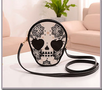 Wholesale PU Leather Skull Pattern Women s Cross Body Bag fashion bags New Retro skull printed zero wallet Mini Bag Shoulder Bag tide bag
