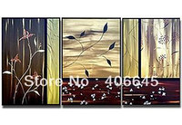 Cheap 3 panel beautiful modern abstract flower tree wall art decoration framed free shipping