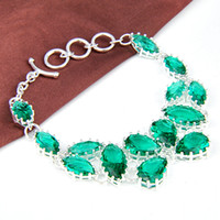 Link, Chain Bohemian Women's Fashion European Design Lovely Green Crystal Charm Bracelet 925 silver Drop Bracelet B0955