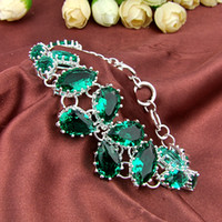 Wholesale 3PCS Luckyshine Hot sell fashion sterling silver plated trendy green amethyst prasiolite gemstone chain bracelet B0955