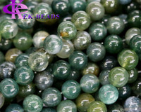 Cheap Stone Moss Agate Round Beads Best Food White Green Moss Agate Beads