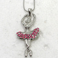 Unisex ballerina pendant necklace - Rose Crystal Rhinestone Wedding Party Pendant Ballerina Pendant Necklaces Fashion jewelry pendant chain F179 J