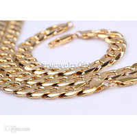 Wholesale Massive Chunky Men s necklace Bracelet Set k Yellow gold filled g Solid Euro curb chain mm low price jewelry sets