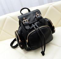 Wholesale 2015 women Fashion Lady Women PU Leather Shoulder handbag Tote Hobo Purse Pure color Leisure Double shoulder Backpack Style