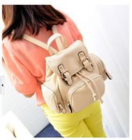 Wholesale Hot Fashion Lady Women PU Leather Shoulder handbag Tote Hobo Purse Pure color Leisure Double shoulder Backpack Style Beige bag