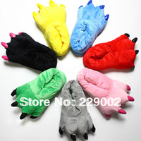 Wholesale Christmas Gifts Sleepwear Animal Paws Shoes Autumn Winter Plush Floor Thermal Lovers Cartoon Stitch Home Slippers