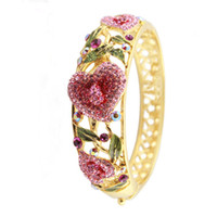 Wholesale 2014 New Arrivals Handmade Colored Love Heart Bracelets amp Bangles Gift Chinese Cloisonne Hollow Austrian Crystal Rhinestone k gold plated