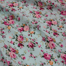 Wholesale Hot Sale Light blue roses flowers cotton fabric yards Width meter poplin fabric floral fabric