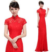 Wholesale 2014 Newest High Collar Elegant CHINESE Style Cheongsam Silk Dress Gown Vintage Wedding Bridal dresses floor length