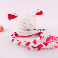 Unisex Summer Crochet Hats New Fashion Baby Infant Photo Props Costume Hand Knit Crocheted White Beanie hat cap Heart Ear Newborn 0-12 Months Free Shipping