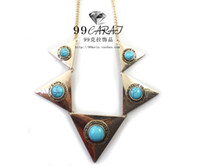 Wholesale 99 kt jewelry European and American retro exotic Egyptian side of the golden triangle of natural turquoise necklace short paragraph II