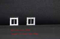 achat en gros de gros carré strass boucles-Livraison gratuite de gros 120 pcs 18mm Square Rhinestone Boucle Rhinestone Slider Invitation Invitation Faire-part de mariage