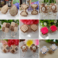 Wholesale Fashion Gold Plated Alloy With Shining Rhinestones Plastic Beads Clip Earrings Mixed Design In Random pairs