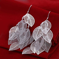 Wholesale sterling silver jewelry earring fine polish leaf drop jewelry earring and retail SMTE214