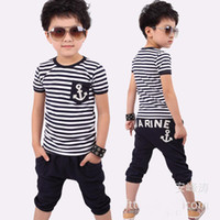 Boy Spring / Autumn Short 2014 New Arrival Baby Boy Summer Clothing Summer Navy Stripes T shirt+ Short Children Suit 5pcs lot Free Shipping