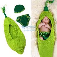Unisex Spring / Autumn Baby 0-6months Newborn Baby Costume Photography Prop Cute Crochet Knit Beanie Hat Caps Set 18827