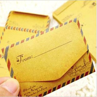 Wholesale 50 set Mini Retro Vintage Kraft Paper Envelopes Cute Cartoon Kawaii Paper Korean Stationery Gift