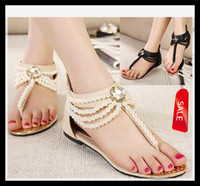 Wholesale 2014 new pearl chain beads with rhinestone sandals flat heel flip flops fashion sexy women sandals shoes ePacket