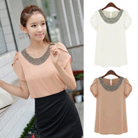 Women Beading Regular Women's vintage Embellished Bead Neckline Ruffle Shoulder Chiffon Top Loose Blouse M,L,XL,XXL 2colors dropshipping 16554
