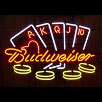 Red Night Bar BUDWEISER BUDWEISER BUD BEER POKER CHIPS NEON SIGN LIGHT