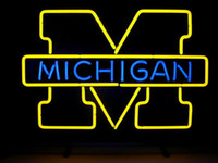 michigan - NEW MICHIGAN WOLVERINES REAL GLASS NEON LIGHT BEER BAR PUB SIGN