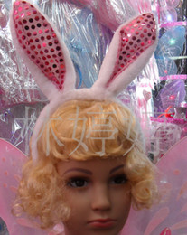 Wholesale Hot KAWAII women girl Bunny Rabbit Fluffy sexy Ear Headbands Plush Head Band Costume Festive Party Decorative Performing props hair jewelry